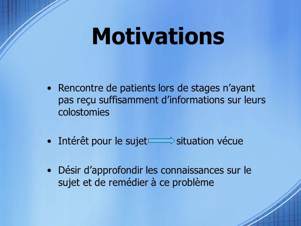 Motivations Rencontre de patients lors de stages n'ayant pas reçu suffisamment d'informations sur leurs colostomies.