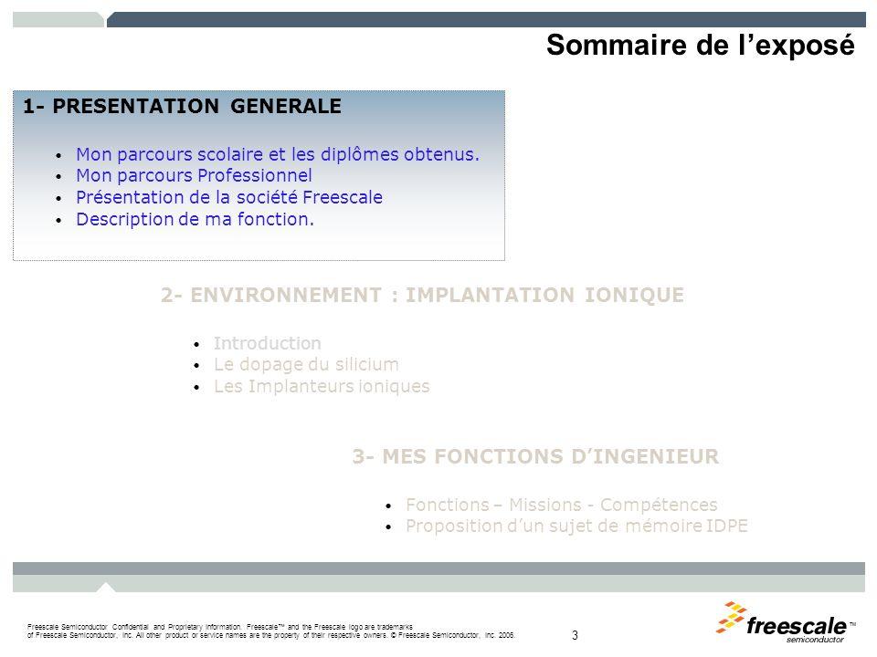 Sommaire de l'exposé 1- PRESENTATION GENERALE
