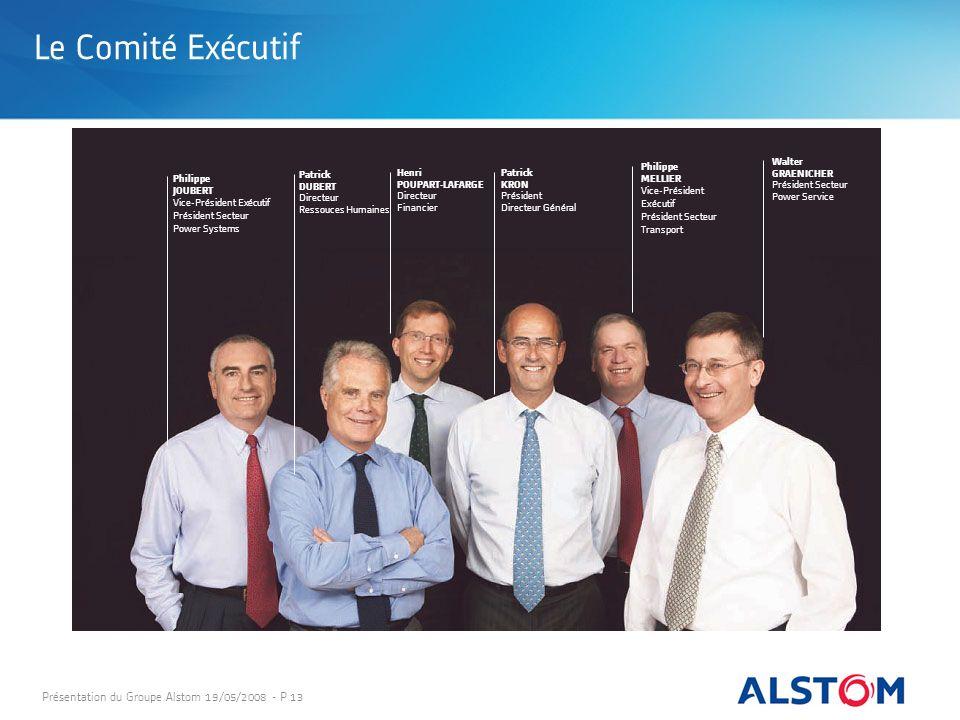 Le Comité Exécutif Présentation du Groupe Alstom 19/05/2008 - P 13