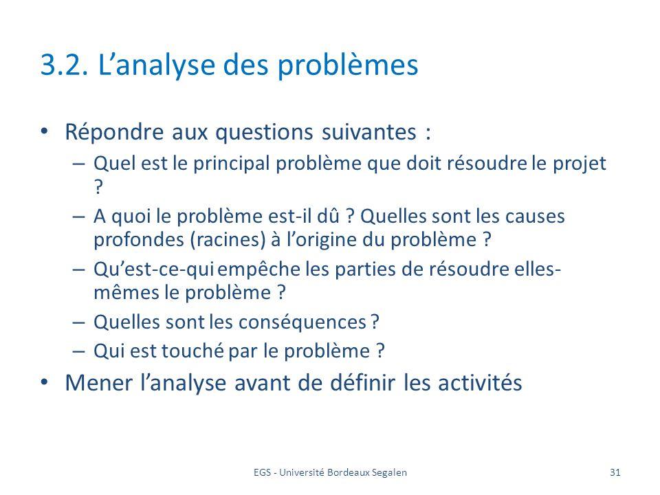 3.2. L'analyse des problèmes