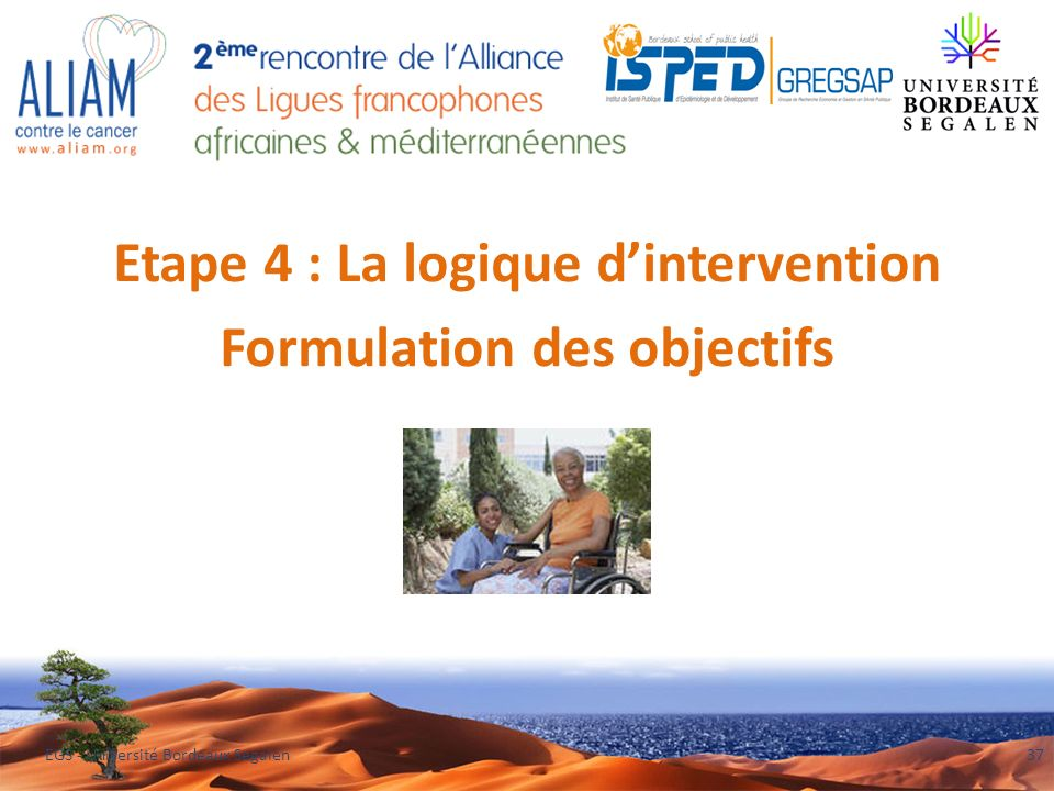 Etape 4 : La logique d'intervention Formulation des objectifs