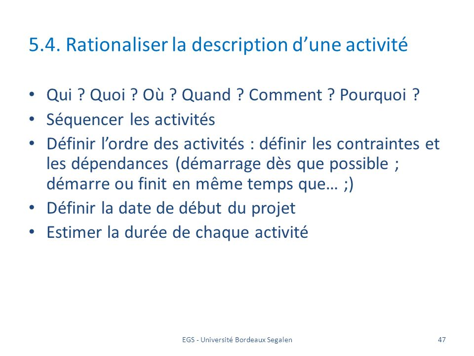5.4. Rationaliser la description d'une activité