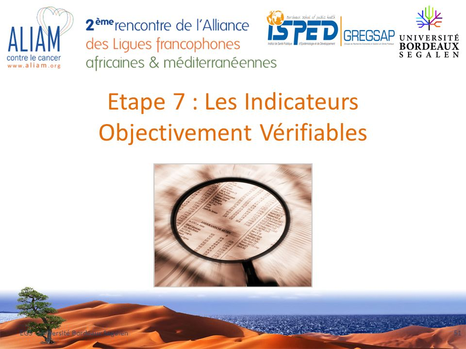 Etape 7 : Les Indicateurs Objectivement Vérifiables