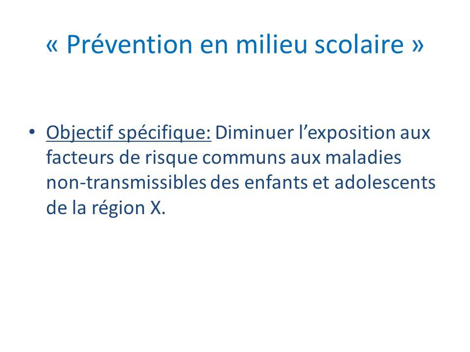 « Prévention en milieu scolaire »