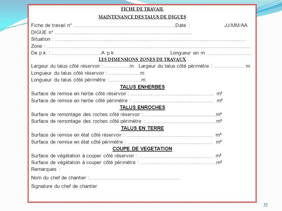 MAINTENANCE DES TALUS DE DIGUES LES DIMENSIONS ZONES DE TRAVAUX
