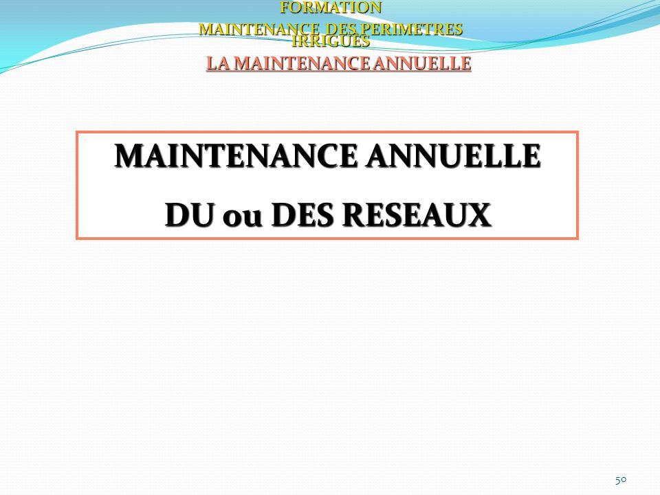 MAINTENANCE DES PERIMETRES IRRIGUÈS LA MAINTENANCE ANNUELLE