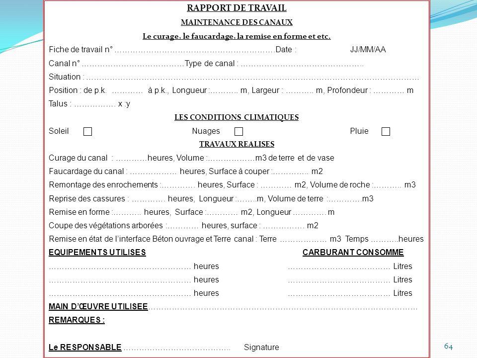 RAPPORT DE TRAVAIL MAINTENANCE DES CANAUX