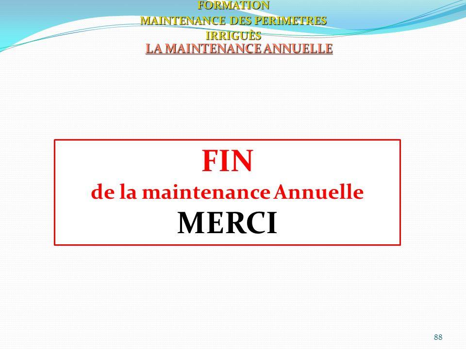 FIN MERCI de la maintenance Annuelle LA MAINTENANCE ANNUELLE FORMATION