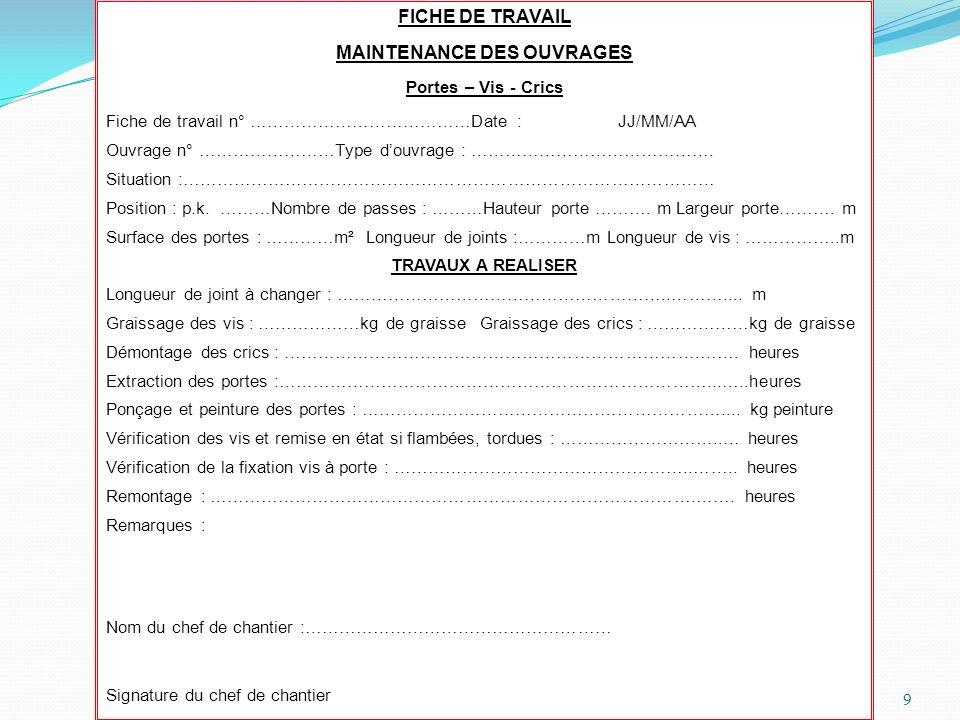 MAINTENANCE DES OUVRAGES