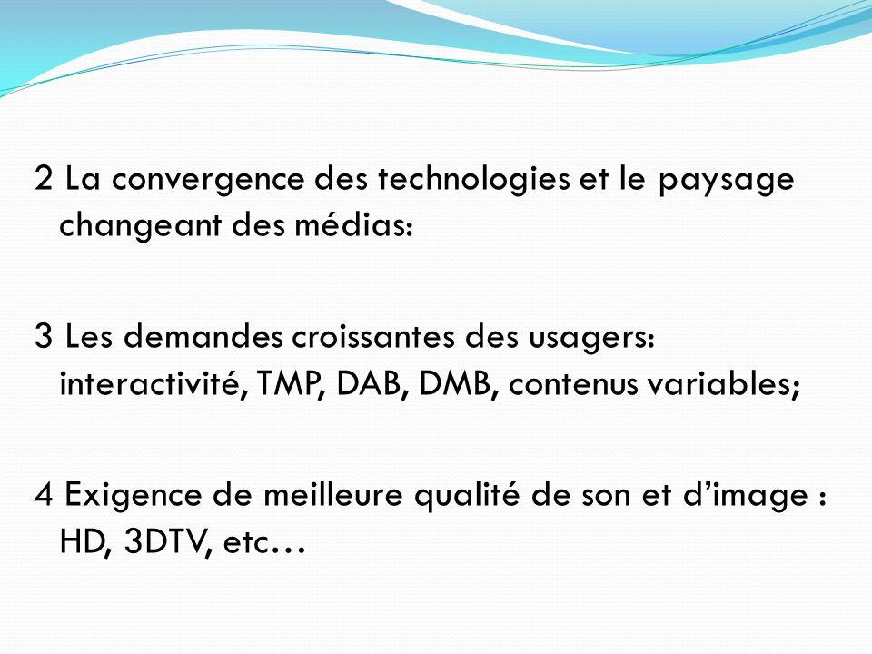 2 La convergence des technologies et le paysage changeant des médias: 3 Les demandes croissantes des usagers: interactivité, TMP, DAB, DMB, contenus variables; 4 Exigence de meilleure qualité de son et d'image : HD, 3DTV, etc…