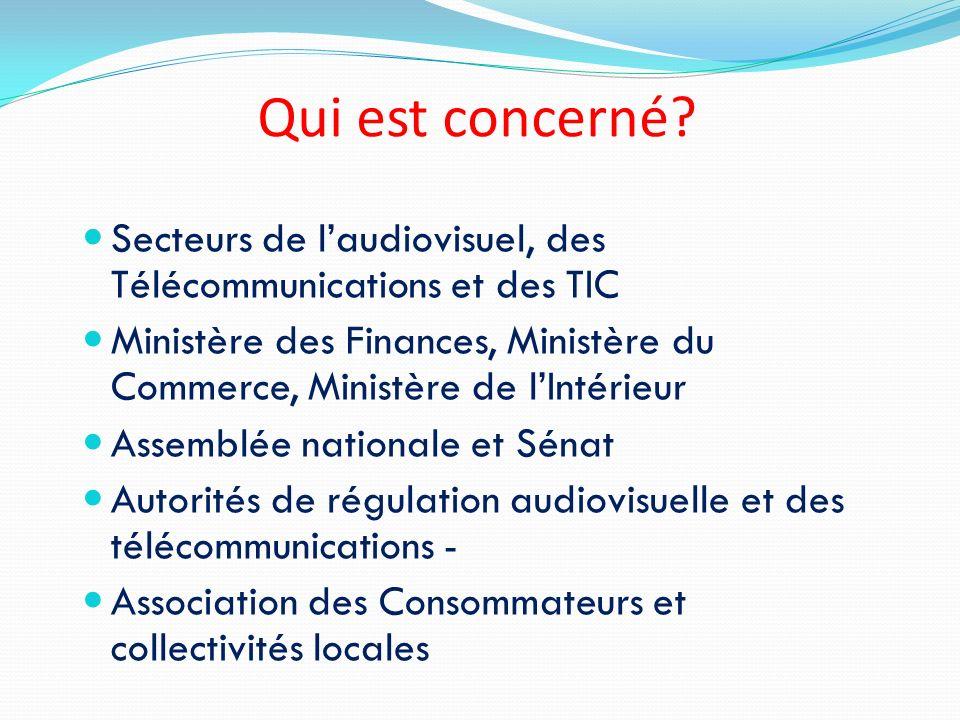 Qui est concerné Secteurs de l'audiovisuel, des Télécommunications et des TIC.
