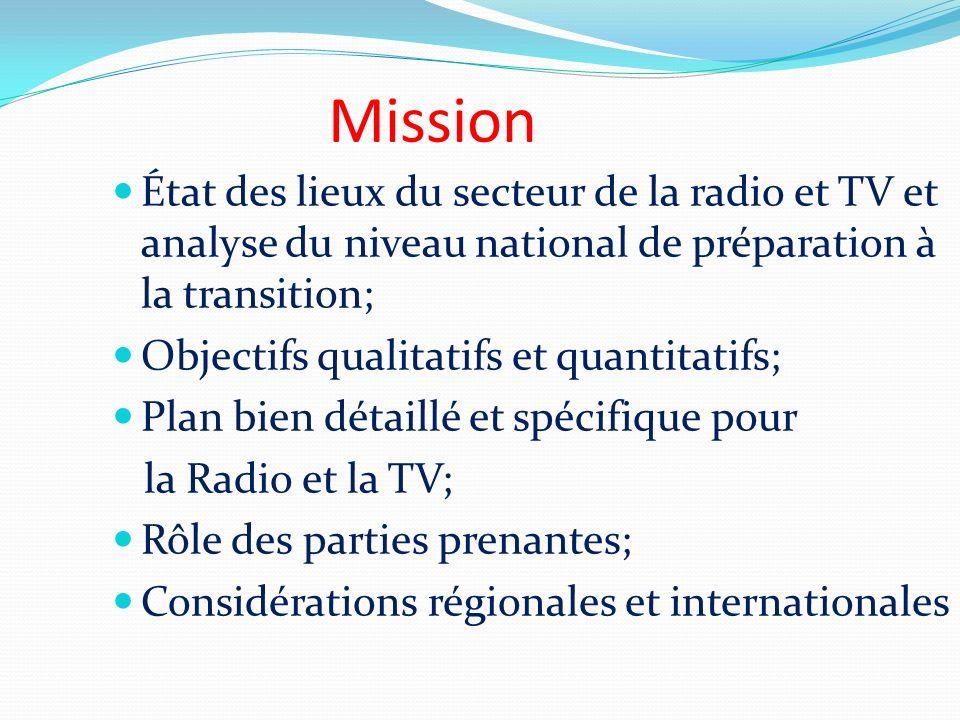 Mission État des lieux du secteur de la radio et TV et analyse du niveau national de préparation à la transition;