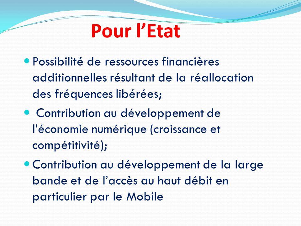 Pour l'Etat Possibilité de ressources financières additionnelles résultant de la réallocation des fréquences libérées;