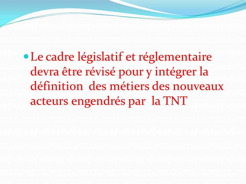 Le cadre législatif et réglementaire devra être révisé pour y intégrer la définition des métiers des nouveaux acteurs engendrés par la TNT