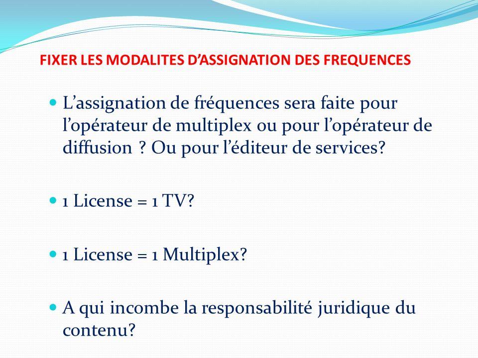 FIXER LES MODALITES D'ASSIGNATION DES FREQUENCES