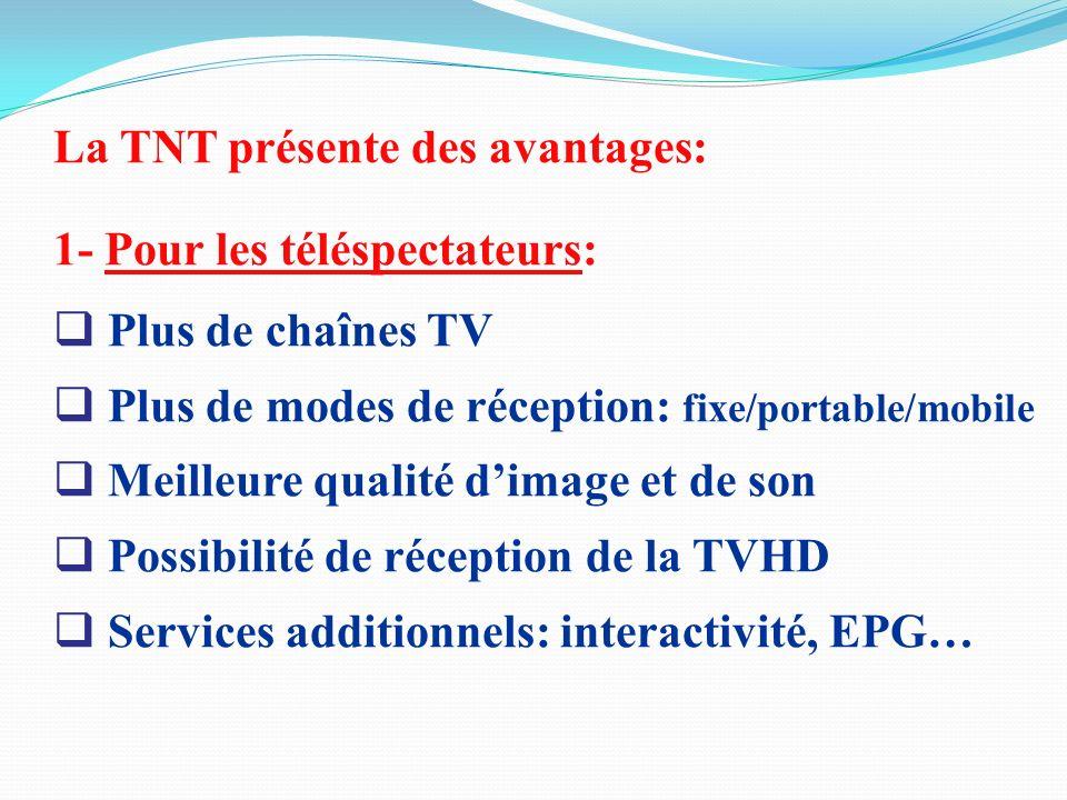 La TNT présente des avantages: