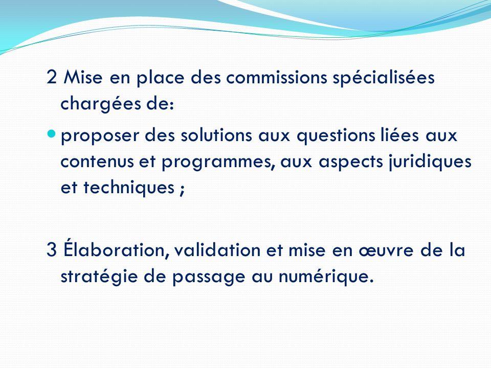 2 Mise en place des commissions spécialisées chargées de: