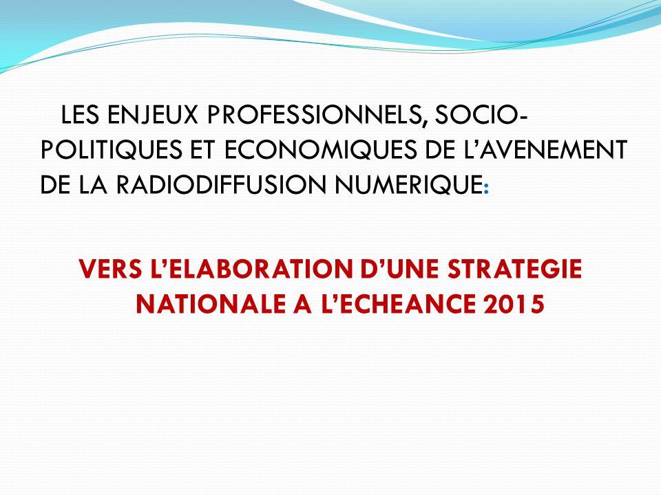 LES ENJEUX PROFESSIONNELS, SOCIO-POLITIQUES ET ECONOMIQUES DE L'AVENEMENT DE LA RADIODIFFUSION NUMERIQUE: VERS L'ELABORATION D'UNE STRATEGIE NATIONALE A L'ECHEANCE 2015