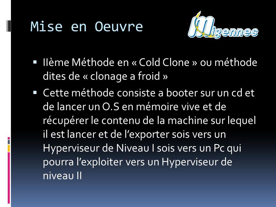 Mise en Oeuvre IIème Méthode en « Cold Clone » ou méthode dites de « clonage a froid »