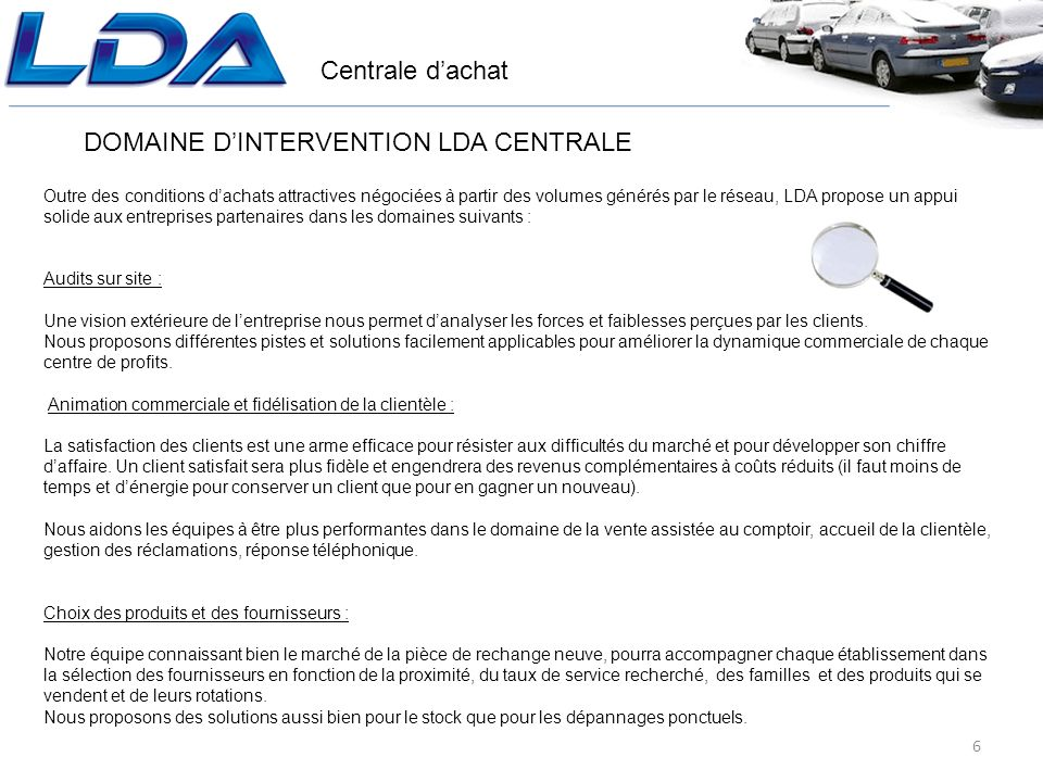 DOMAINE D'INTERVENTION LDA CENTRALE
