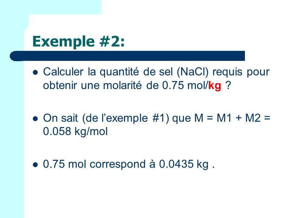 Exemple #2: Calculer la quantité de sel (NaCl) requis pour obtenir une molarité de 0.75 mol/kg