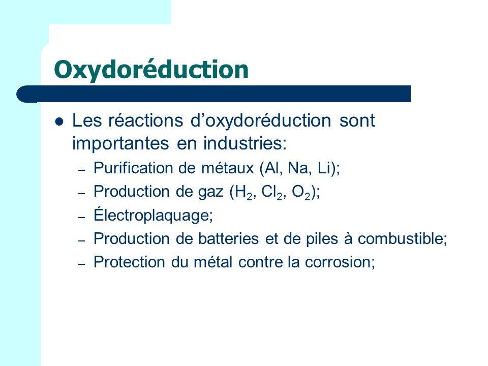 Oxydoréduction Les réactions d'oxydoréduction sont importantes en industries: Purification de métaux (Al, Na, Li);