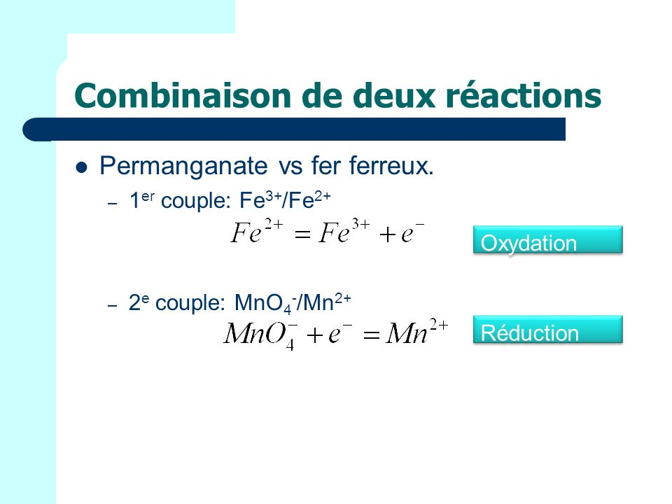 Combinaison de deux réactions