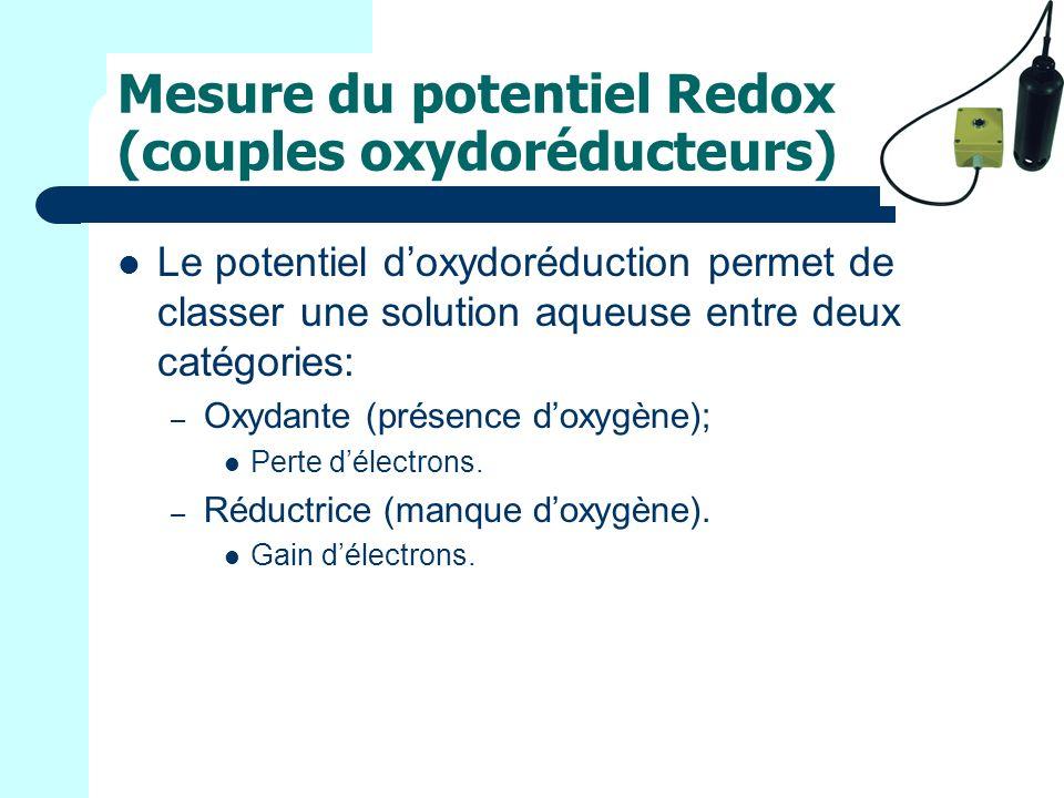 Mesure du potentiel Redox (couples oxydoréducteurs)