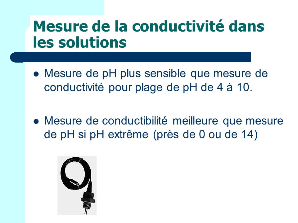 Mesure de la conductivité dans les solutions