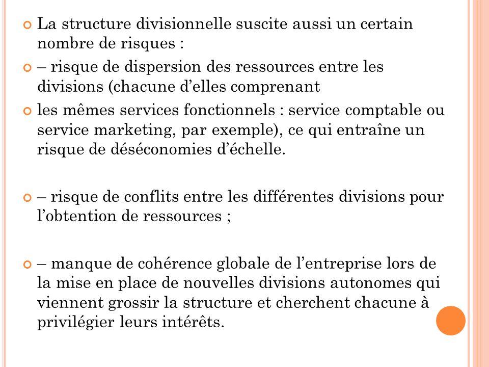 La structure divisionnelle suscite aussi un certain nombre de risques :