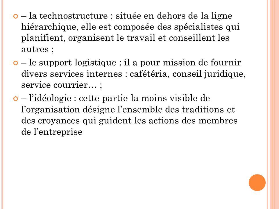 – la technostructure : située en dehors de la ligne hiérarchique, elle est composée des spécialistes qui planifient, organisent le travail et conseillent les autres ;