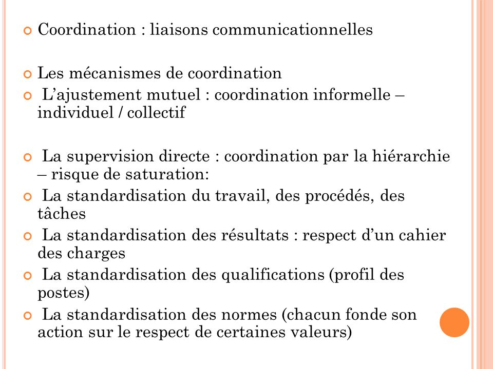 Coordination : liaisons communicationnelles