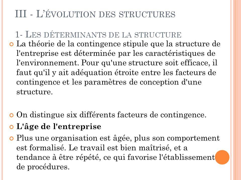 1- Les déterminants de la structure