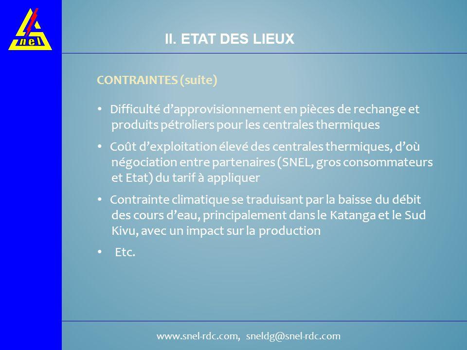 II. ETAT DES LIEUX CONTRAINTES (suite)