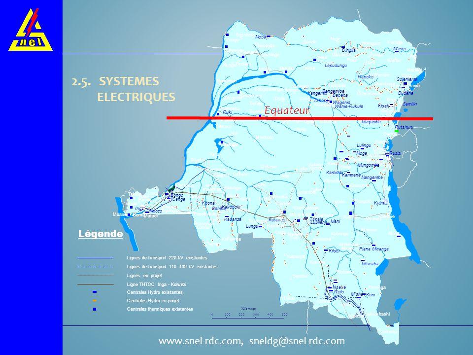 2.5. SYSTEMES ELECTRIQUES Equateur Légende Bosobolo Mobayi Zongo Bondo