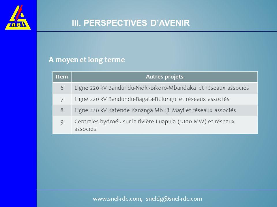 III. PERSPECTIVES D'AVENIR