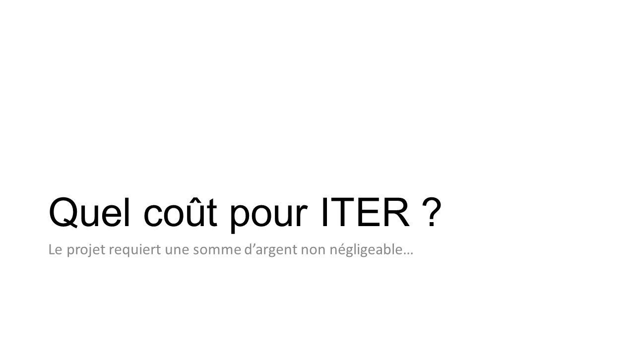 Quel coût pour ITER Le projet requiert une somme d'argent non négligeable…