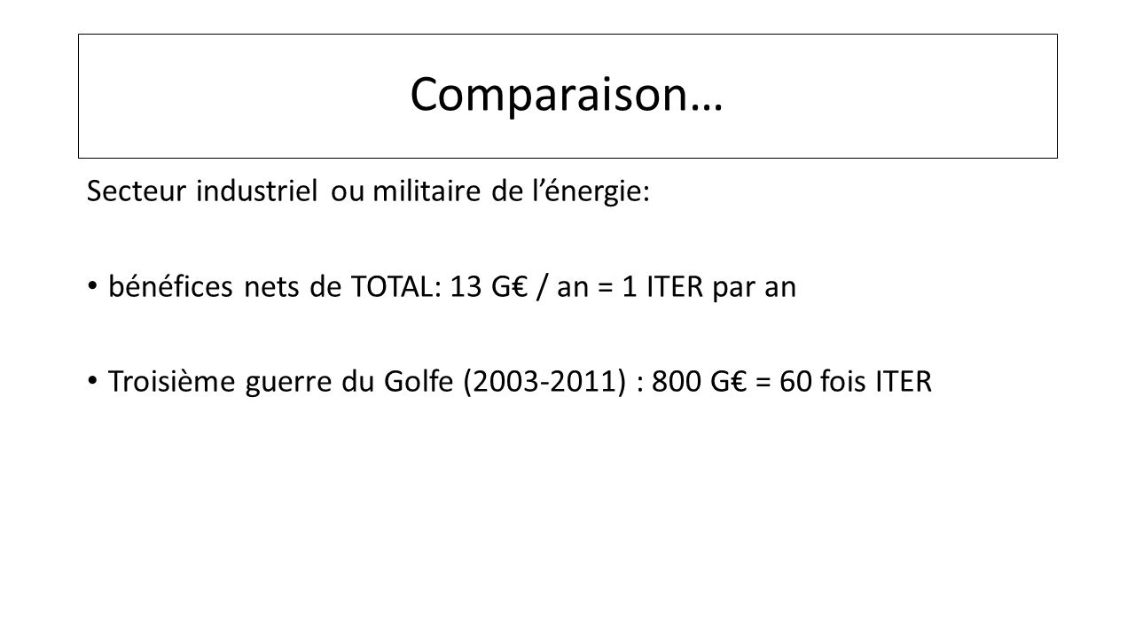 Comparaison… Secteur industriel ou militaire de l'énergie: