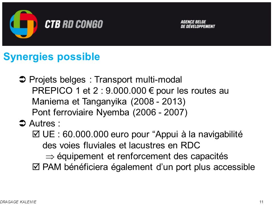 Synergies possible Projets belges : Transport multi-modal