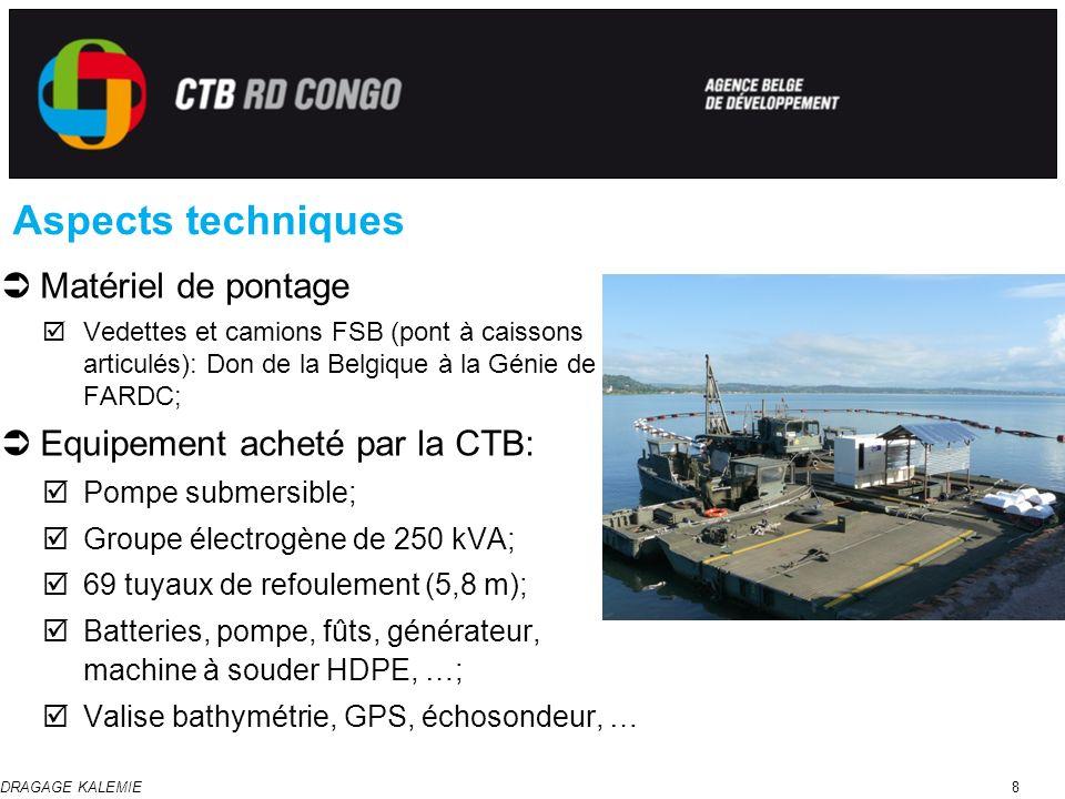 Aspects techniques Matériel de pontage Equipement acheté par la CTB:
