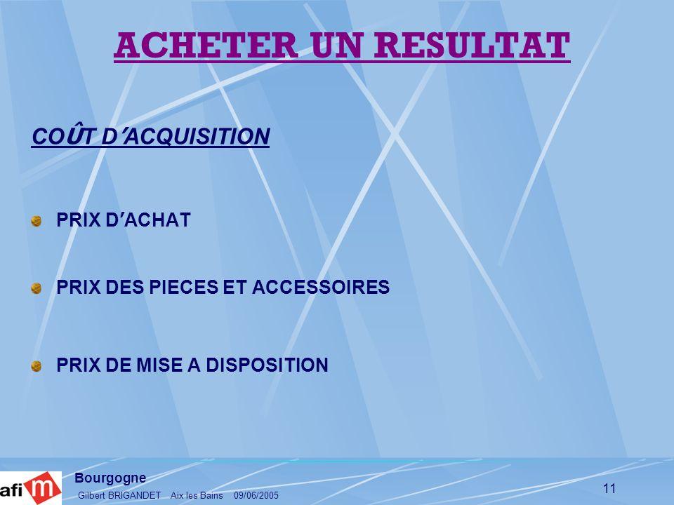 ACHETER UN RESULTAT COÛT D'ACQUISITION PRIX D'ACHAT