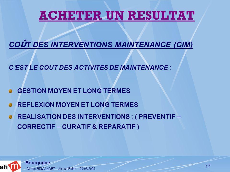 ACHETER UN RESULTAT COÛT DES INTERVENTIONS MAINTENANCE (CIM)