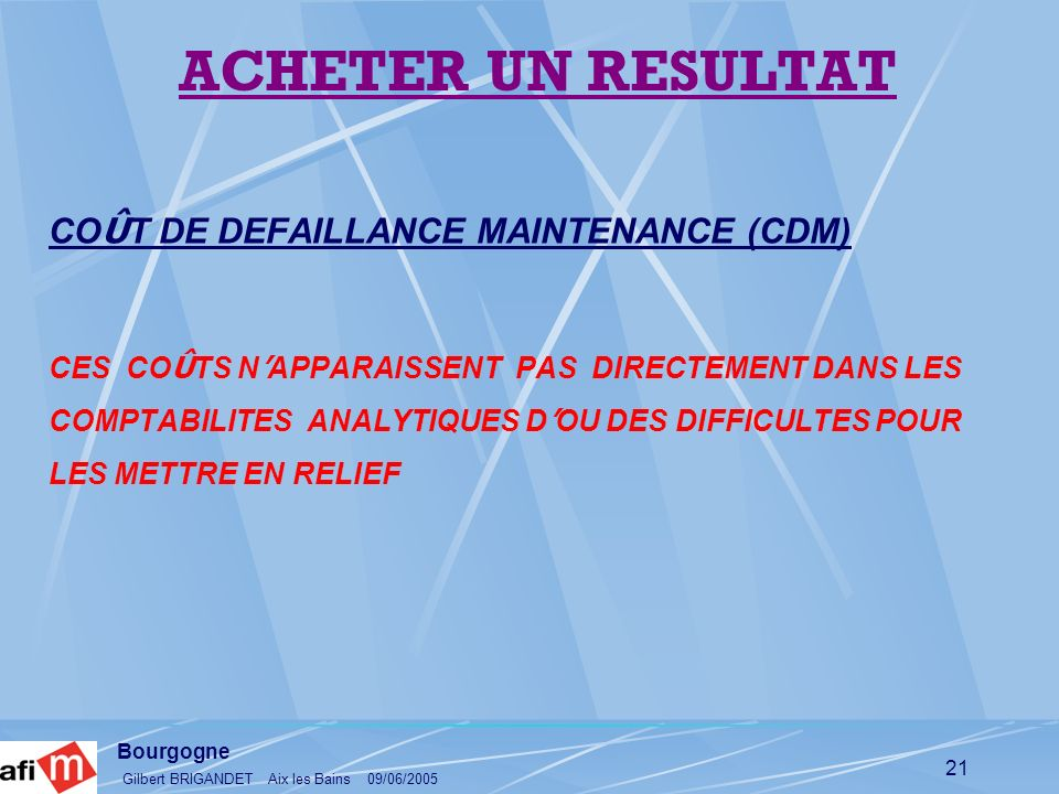 ACHETER UN RESULTAT COÛT DE DEFAILLANCE MAINTENANCE (CDM)