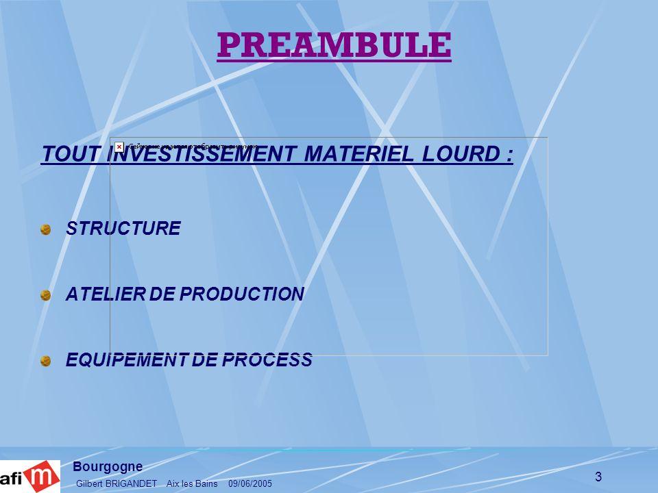 PREAMBULE TOUT INVESTISSEMENT MATERIEL LOURD : STRUCTURE