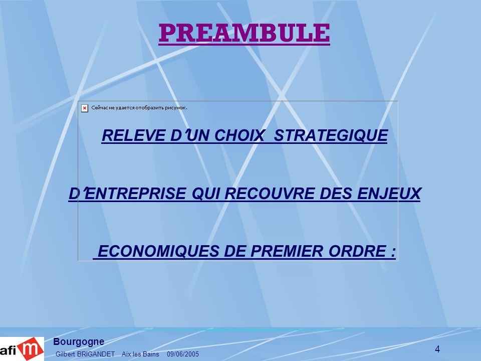 PREAMBULE RELEVE D'UN CHOIX STRATEGIQUE