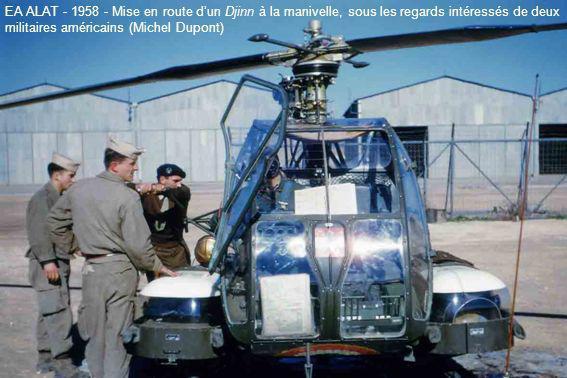 EA ALAT - 1958 - Mise en route d'un Djinn à la manivelle, sous les regards intéressés de deux militaires américains (Michel Dupont)