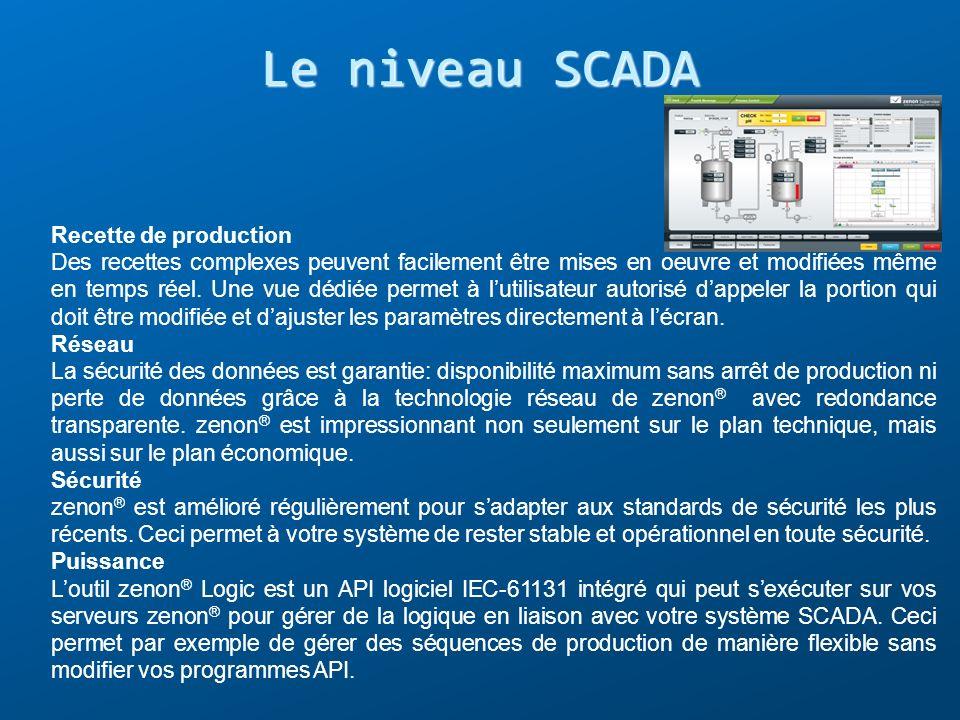Le niveau SCADA Recette de production