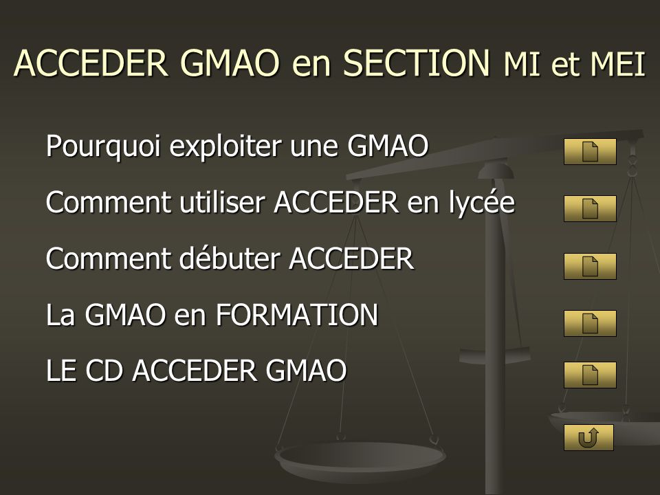 ACCEDER GMAO en SECTION MI et MEI