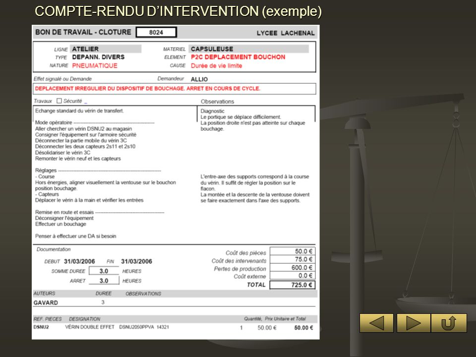 COMPTE-RENDU D'INTERVENTION (exemple)