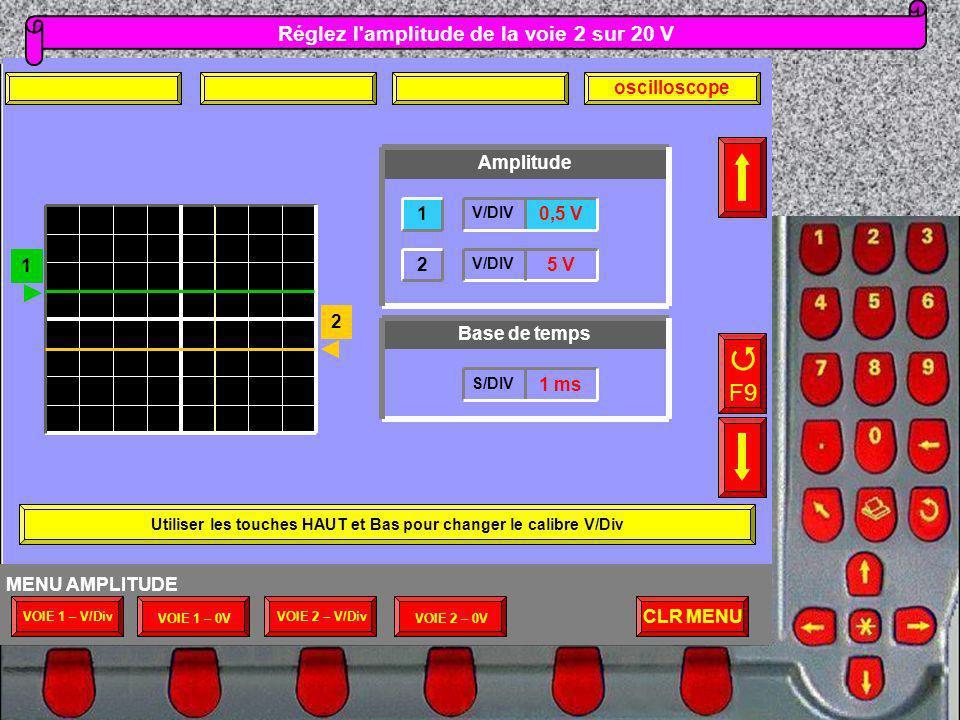 F9 Réglez l amplitude de la voie 2 sur 20 V oscilloscope Amplitude